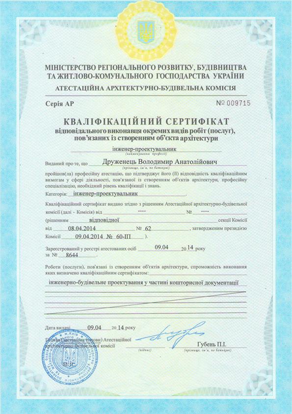 Сертификат Друженец В. А.